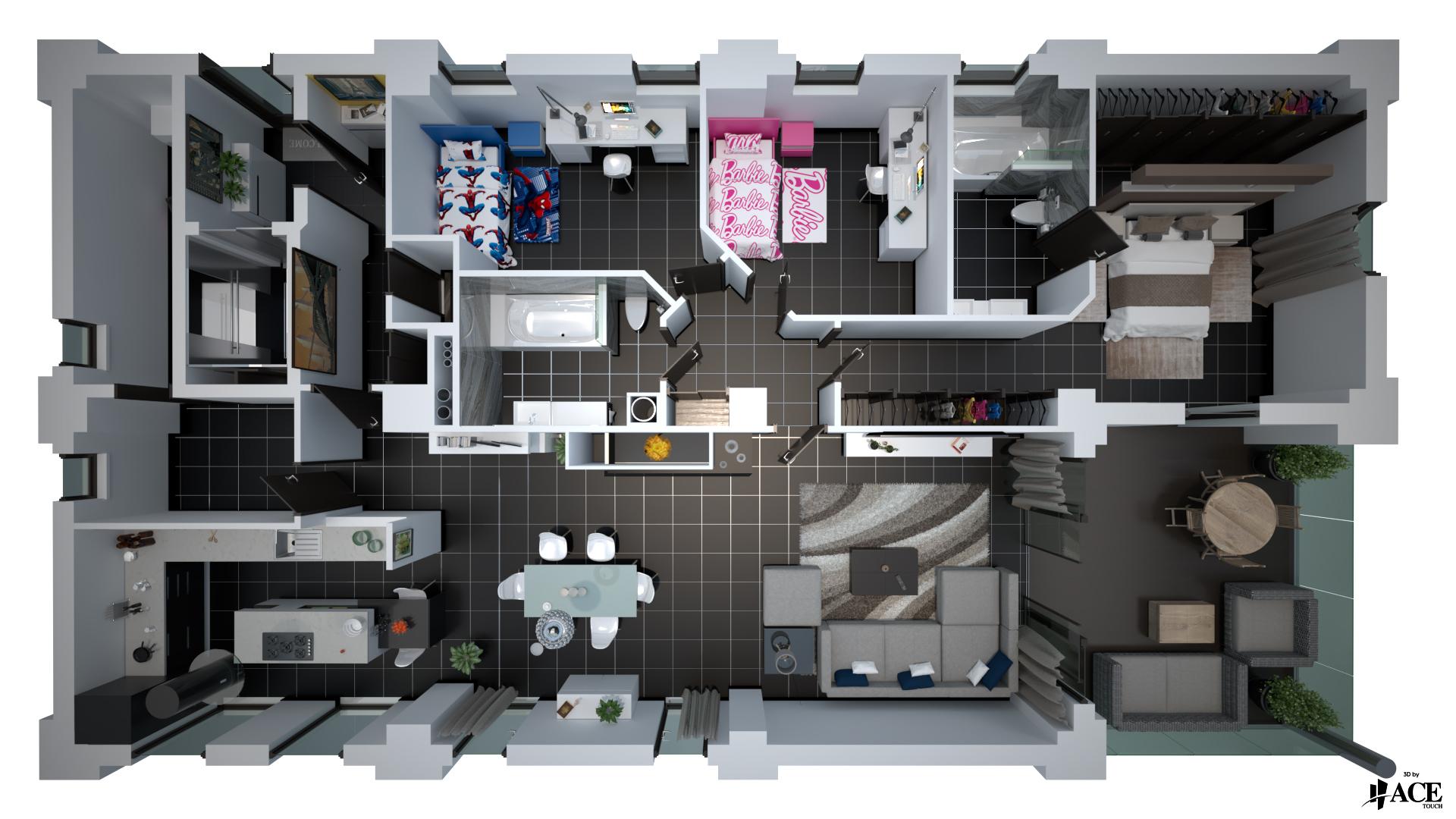 Vue 3D style plan 3D-2