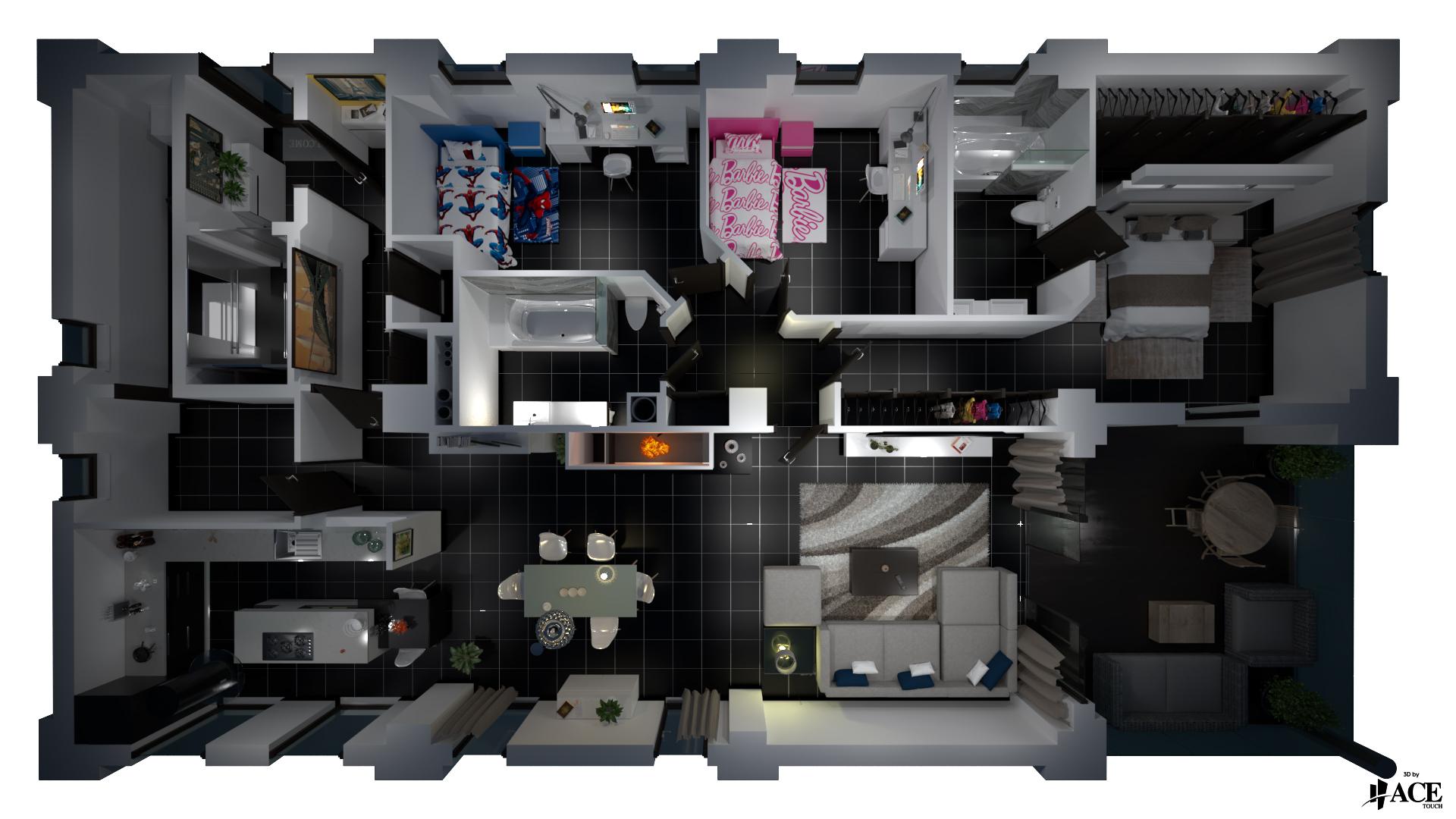 Vue 3D style plan 3D-3